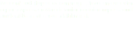 We don't just stop at ocean freight. You can ask us for import,exports, crosstrades,intermodal transports, and any logistic service you might need.